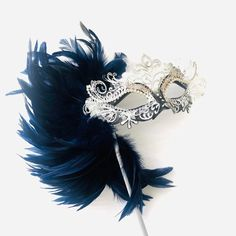 Navy Blue luxury feather masquerade mask by HigginsCreek - masquerade mask - Blue Masquerade Masks, Mascarade Mask, Couples Masquerade Masks, Sweet 16 Masquerade, Masquerade Party, Feather Mask, Blue Feather, Vincent Van Gogh, Mardi Gras