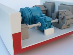 This ship propulsion model demonstrates 3 different ways electric motors can be added to a ship's propulsion system. It includes a slice of an engine room.