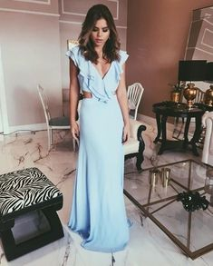 White Backless Prom Dress,Split Chiffon Prom Dress,Custom Made Evening DressCharming Sheath V Neck Backless Ruffled Light Blue Long Prom Dresses, Elegant Evening Dresses Prom Dresses Under 100, Prom Dresses 2018, Backless Prom Dresses, Cheap Prom Dresses, Bridesmaid Dresses, Dress Prom, Party Dresses, Evening Dress Long, Evening Dresses