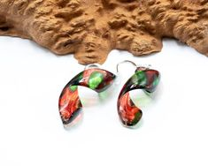 Acrylic Pour Transparent Spiral earrings, dangle, Multi color, resin, sterling silver, paint, hand made, statement, earrings, fun, painting Acrylic Pouring, Transparent, Spiral, Fun, Dangles, Painting, Sterling Silver, Handmade