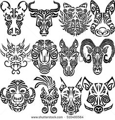 Chinese zodiac signs set. Rat, ox bull, tiger, rabbit, dragon, snake, horse, ram, monkey, rooster, dog, boar heads stylized Maori face tattoo. Vector