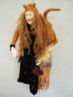 """""""THE CAT'S MEOW""""..one of a kind fiber art figure...all hand stitched,articulated,vintage fabrics...lot's of beads.created by Katie Gardenia"""