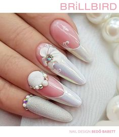 Tina's Nails, Bling Nails, Almond Gel Nails, Pink Nail Art, Nail Sizes, Beautiful Nail Designs, Nail Decorations, Flower Nails, Trendy Nails