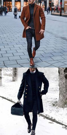 Mens Style Discover Chic Stand Collar Button Thicken Woolen Long Coat Men fashion new in coats for you the best choice for everyday wear. Blazers For Men Casual, Casual Wear For Men, Stylish Mens Outfits, Best Winter Outfits Men, Mode Man, Formal Men Outfit, Mode Costume, Designer Suits For Men, Mens Clothing Styles