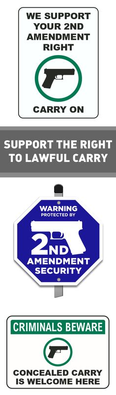 Support Concealed Carry / Open Carry with Pro Second Amendment signs and guns welcome signs. Shop from the USA manufacturer today! #firearms