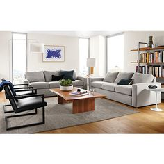 Taft Sofas with Lira Leather Chairs - Living - Room & Board