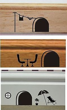 Wall Art Quality Vinyl Stickers Decals: MOUSE HOLES! - fun - great for any room