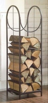 VERTICAL LOG BIN MISSION STYLE FIRE WOOD RACK HOLDER BIN FIREPLACE