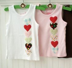 Heart applique kids tanks: looks like an easy diy for simple play clothes. Fashion Kids, Diy Fashion, Diy Clothing, Sewing Clothes, Sewing For Kids, Baby Sewing, Diy Vetement, Sewing Appliques, Applique Designs
