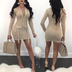 Fashion Lace-up Patchwork Long Sleeve Mini Dress
