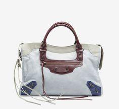 Balenciaga Light Blue, Red And Grey Handbag