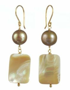 Gold Plated Sterling Silver Champagne Freshwater Cultured Pearl and Natural Mother-Of-Pearl Rectangle Drop Earrings Amazon Curated Collection. $25.00. Do not use cleaning solvents.  Wipe gently with a soft, dry cloth.