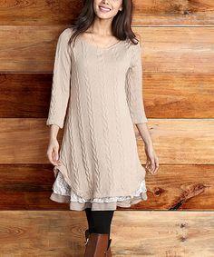 Loving this Mocha Cable-Knit Lace Ruffle-Hem Dress on #zulily! #zulilyfinds