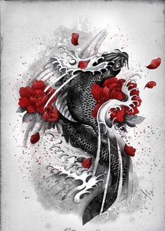 https://displate.com/displate/34811/illustration-koi-black-flowers-waves-courage-red