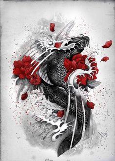 https://displate.com/displate/34811/illustration-koi-black-flowers-waves-courage-red