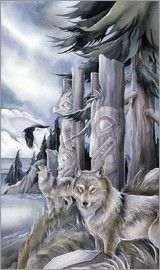 Bergsma Gallery Press :: Paintings :: Nature :: Wild Land Animals :: Wolves and Wild Dogs :: All Are Sacred - Prints Animal Spirit Guides, Wolf Spirit Animal, Native Art, Native American Art, Wolf Painting, Painting Art, Beautiful Wolves, Delphine, Tatoo Art