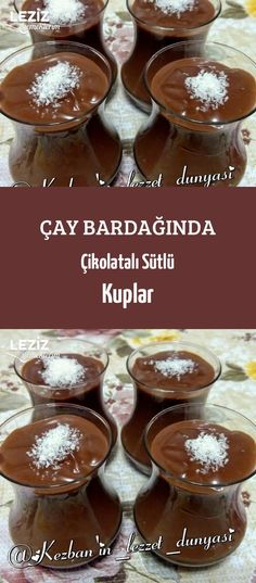 Chocolate Milk Cups in Tea Glass - My Delicious Food No Dairy Recipes, Easy Cake Recipes, Dessert Recipes, Cooking Recipes, Ice Cream Novelties, Food And Beverage Industry, Turkish Recipes, Frozen Desserts, Slushies