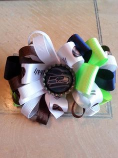 Seahawks BIG GAME Loopy bow by BySunshineDesign on Etsy, $10.00