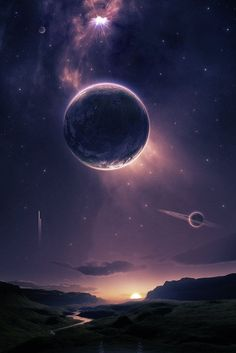 Astronomy Universe A beautiful fantasy or science fiction landscape, with planets in the sky above. - Dragon t-shirt Fantasy Landscape, Fantasy Art, Dream Fantasy, Space Fantasy, Galaxy Wallpaper, Sci Fi Wallpaper, Planets Wallpaper, Iphone Wallpaper, Science And Nature