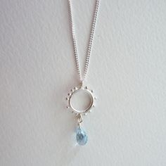 Granulation pendant in sterling with a semi precious gemstone drop - blue topaz