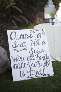 DIY Wedding - choose a seat not a side, we're all family once the knot is tied! Wedding 2015, Diy Wedding, Dream Wedding, Wedding Day, Wedding Stuff, Wedding Ceremony, Wedding Sparklers, Wedding Crafts, Wedding Humor