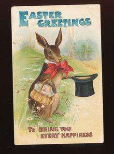 1909 Postcard Easter Greetings Brown Rabbit Red Bow Top Hat & Eggs-kkk874