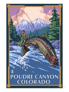 Poudre Canyon, Colorado - Fisherman Prints by Lantern Press at AllPosters.com