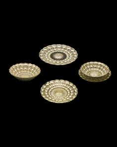 """Star cut and quilted pattern mercury glass dessert service consisting of a large plate, a small plate and a bowl, Services for six, England, 19th century 7.75"""" x 6"""" x 5.5"""" in Diameter"""