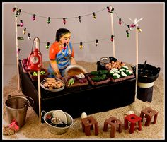 Bajji Kadai | Golu 2016 - Marina Beach Chennai | Veena loksingh | Flickr Paper Mache Crafts, Doll Crafts, Diy Arts And Crafts, Crafts For Kids, Ganesh Chaturthi Decoration, Pottery Painting Designs, Homemade Dolls, Diwali Diy, Wedding Doll