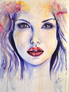Khrystyna Ignasiv - Watercolor portrait painting of a young beautiful woman