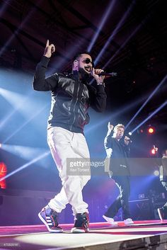 A. J. McLean and Nick Carter of Backstreet Boys perform in concert on February 20, 2014 in Barcelona, Spain.