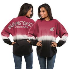 Washington State Cougars Women's Ombre Long Sleeve Dip-Dyed Spirit Jersey - Cardinal