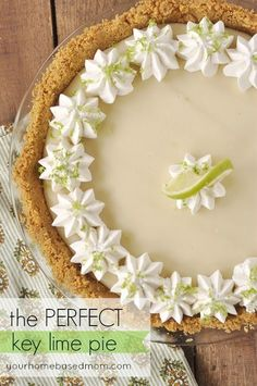 Lime Pie This truly is the PERFECT Key Lime Pie. It has just the right amount of lime goodness and the texture is smooth and creamy!This truly is the PERFECT Key Lime Pie. It has just the right amount of lime goodness and the texture is smooth and creamy! Just Desserts, Delicious Desserts, Yummy Food, Lemon Desserts, Lime Recipes, Sweet Recipes, Fast Recipes, Avocado Recipes, Keylime Pie Recipe