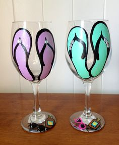 Flip flop wine glasses