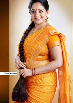 Beautiful Kavya Madhavan- Sexy in Saree Kashta Saree, Red Saree, Silk Sarees, Beautiful Long Hair, Beautiful Saree, Fashion Figures, Indian Models, Braids For Long Hair, Indian Beauty Saree