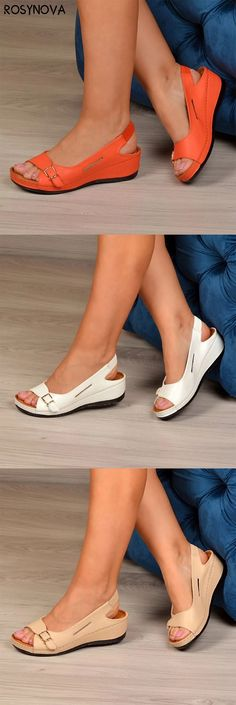 Rosynova offers a wide selection of trendy fashion style women's shoes, clothing. Affordable prices on new shoes, tops, dresses, outerwear and more. Comfy Shoes, Cute Shoes, Comfortable Shoes, Me Too Shoes, Dressy Summer Outfits, Fashion Sandals, New Shoes, Wedge Sandals, Shoe Boots