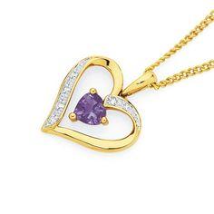 9ct Gold Amethyst & Diamond Open Heart Pendant