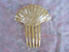 Large Vintage Pearly Plastic Hair Ornament Tall Hair Comb by MendozamVintage, $3.99
