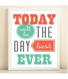 Coral and Turquoise 'Best Day Ever' print by AmandaCatherineDes, $15.00