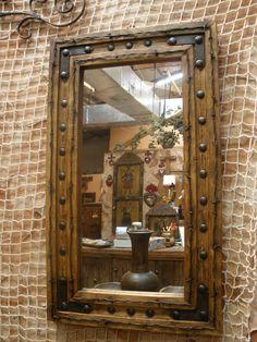 Cuivre à structure métallique Mural Miroir Rustique Industriel Salon Couloir