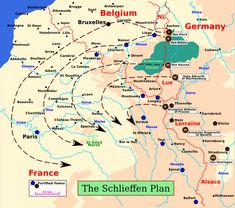 Map illustrating the Schlieffen plan. Germany's plan to win the war, which was to drive hard through Belgium and take out France.