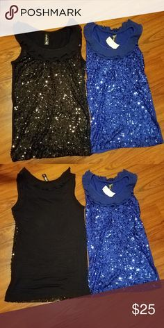 6f28cc0eec673 NWT 2 TANK TOPS with Shimmer Sequins Size M NWT Tank tops with collar Color