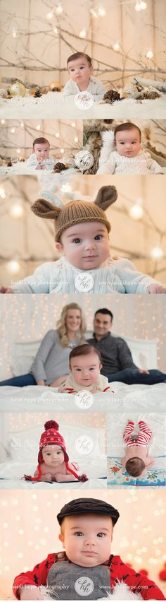 2 month old Baby B's Holiday shoot! #christmas #winter #hats!