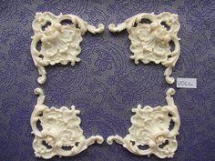 Decorative plume corners x 4 applique onlay resin furniture moulding PC1