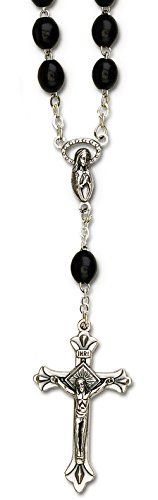 """Cool & Custom {1"""" x 1.5"""" Bead Chain Hang} Single Unit of Rear View Mirror Hanging Ornament Decoration Made of Zinc Alloy w/ Decorative Christian Jesus on the Cross Design [GMC Silver & Black colored] mySimple Products"""