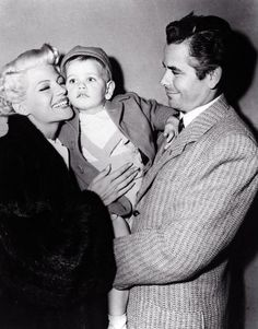Glenn and son Peter Ford visit Rita Hayworth on the set of The Lady From Shanghai, c. 1947.