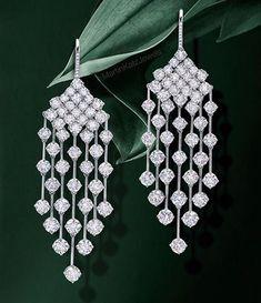 The Gryphon's Nest — Diamond Chandelier Earrings by M.Katz #DiamondEarrings
