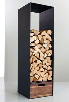 moderne kaminholz aufbewahrung metall mit zwei praktischen eingriffen zum tragen matt schwarz. Black Bedroom Furniture Sets. Home Design Ideas