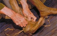 "Contemporary Artists of Colorado: Figurative Painting, of Hands ""ALWAYS ON THE MOVE "" by Contemporary Realism Artist Carol A. McIntyre"