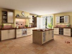 Toscana moderní kuchyň ve světlém odstínu s ostrůvkem / kitchen with island Kitchen Dining, Kitchen Island, Dining Rooms, Kitchens, Home Decor, Island Kitchen, Decoration Home, Dining Room Suites, Room Decor